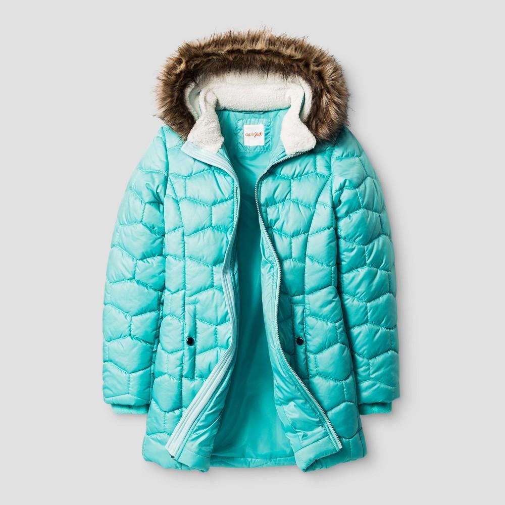Girls Long Puffer Jacket - Cat & Jack Blue L