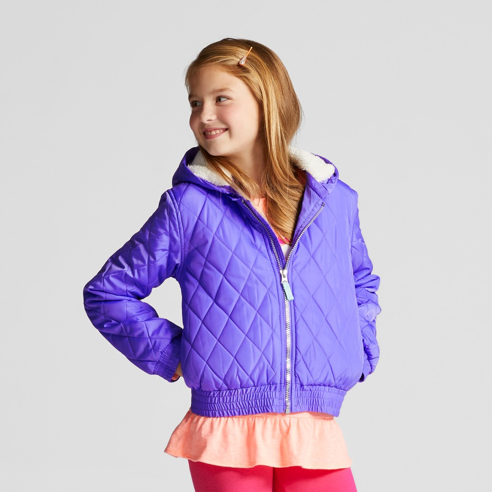 Girls Unicorn Puffer Jacket - Cat & Jack Purple XL