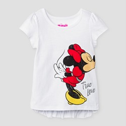 Toddler Girls' Minnie & Mickey Front/Back T-Shirt - White