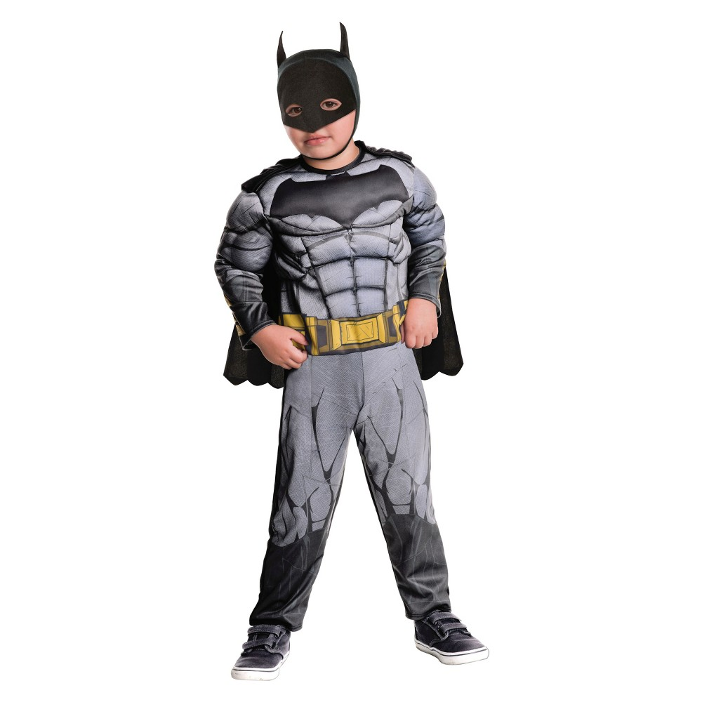 Toddler Justice League Batman Deluxe Muscle Costume - 3T-4T, Toddler Boys, Multicolored
