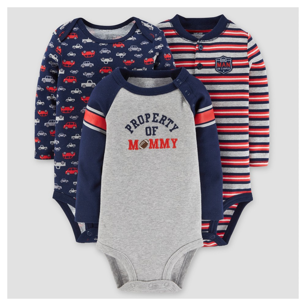 Baby Boys 3pk Long Sleeve Cars Bodysuit - Just One You Made by Carters Navy 18M, Size: 18 M, Blue