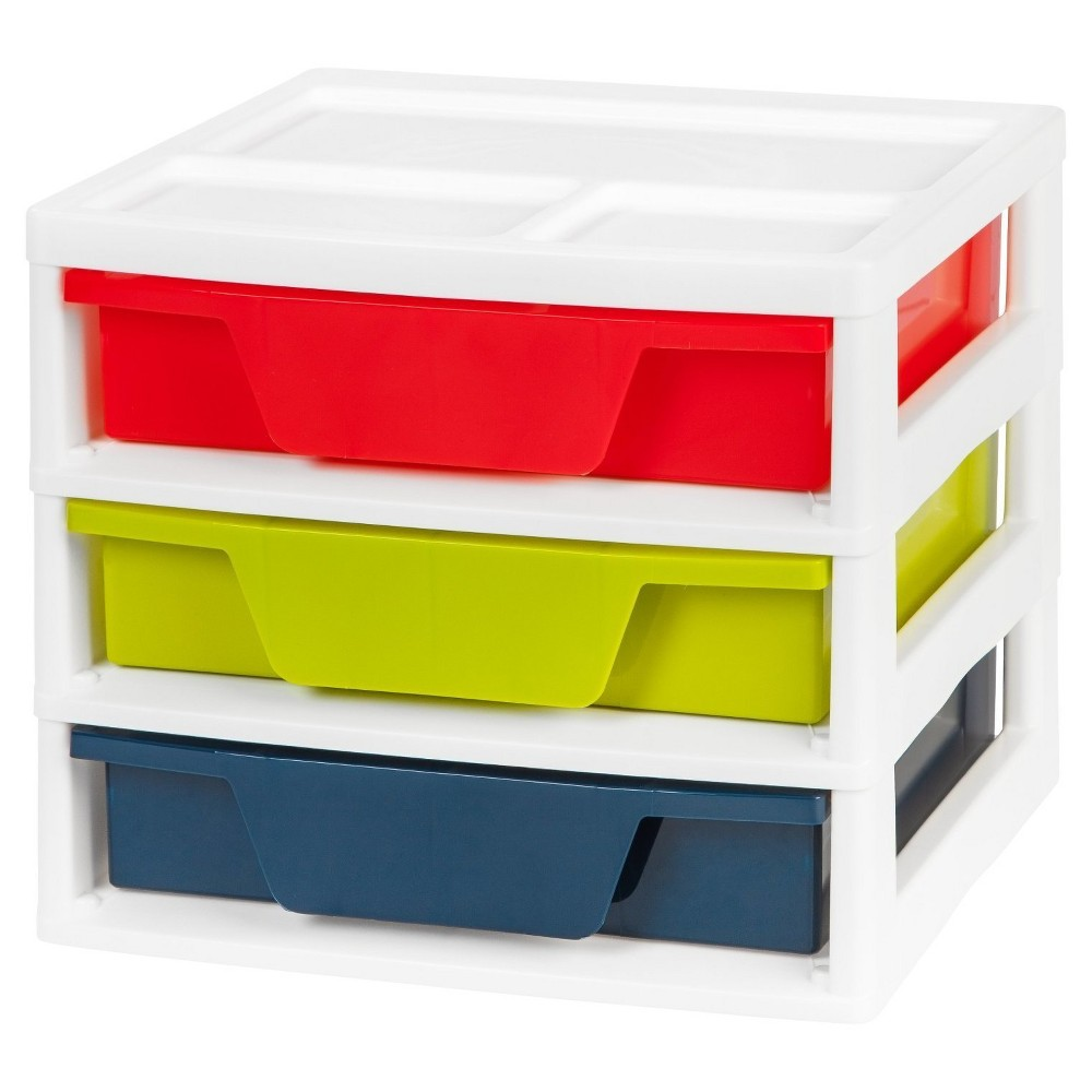 Iris 3 Drawer Activity Storage Unit with Organizer Top, Multi-Colored
