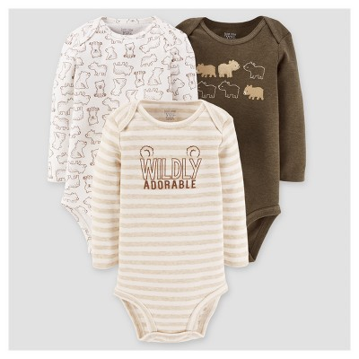 Baby Boys' 3pk Long Sleeve Bears Bodysuit - Just One You™ Made by Carter's® Brown 24M