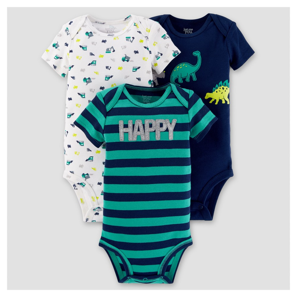 Baby Boys 3pk Short Sleeve Dinosaurs Bodysuit - Just One You Made by Carters Blue 12M, Size: 12 M