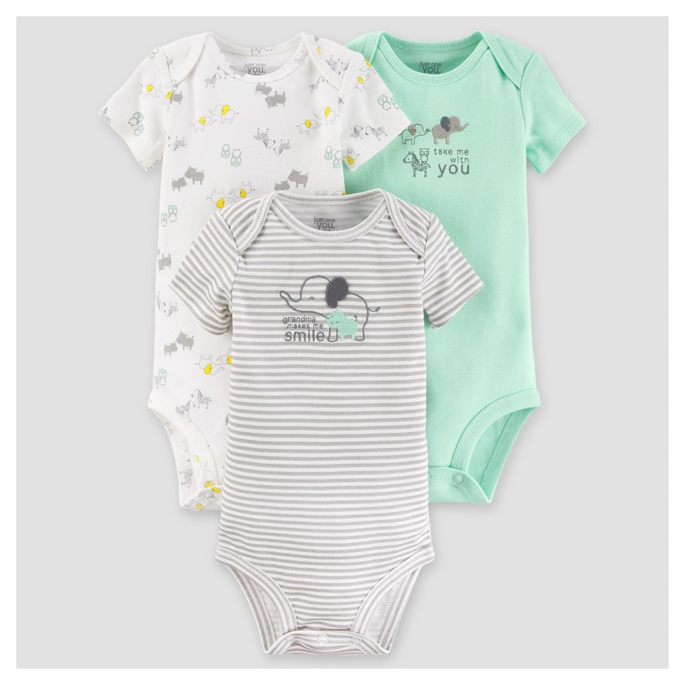 Baby Boys 3pk Short Sleeve Elephants Bodysuit - Just One You Made by Carters Gray 18M, Size: 18 M, Green