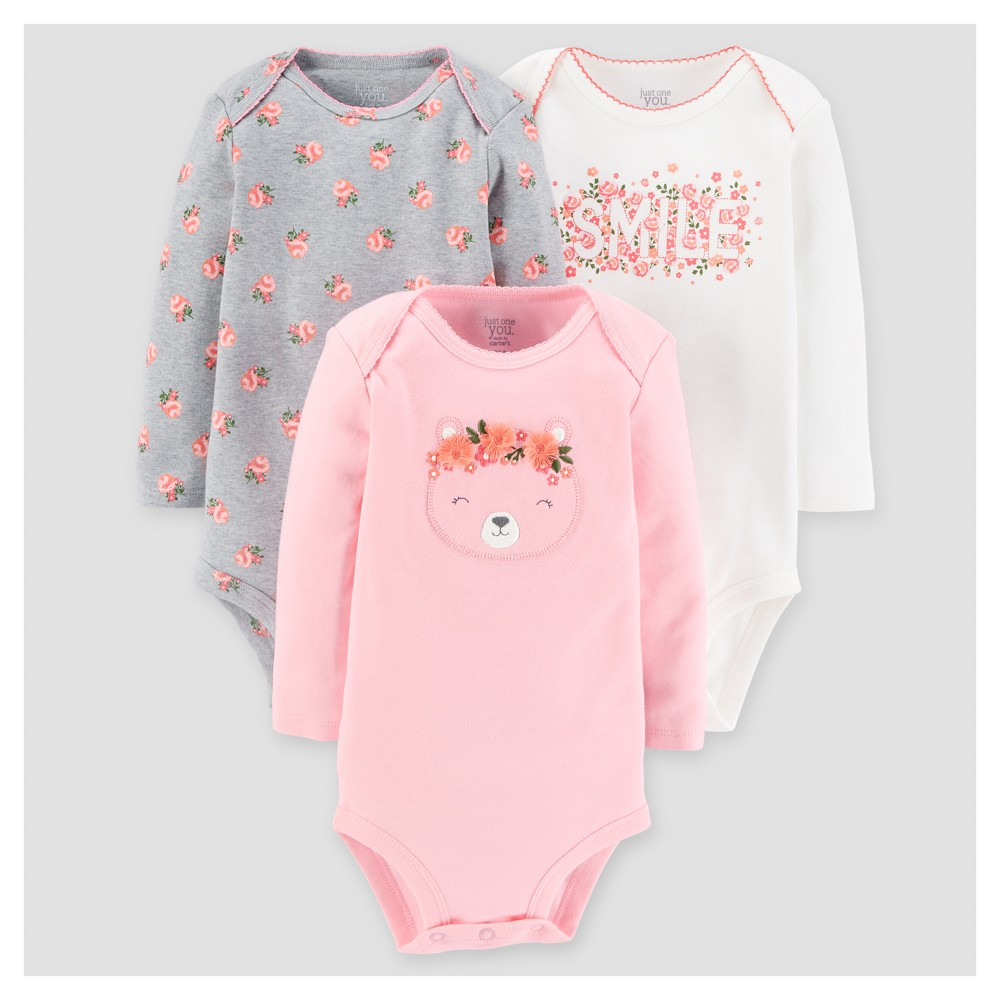 Baby Girls 3pk Long Sleeve Floral Bodysuit - Just One You Made by Carters Pink 12M, Size: 12 M