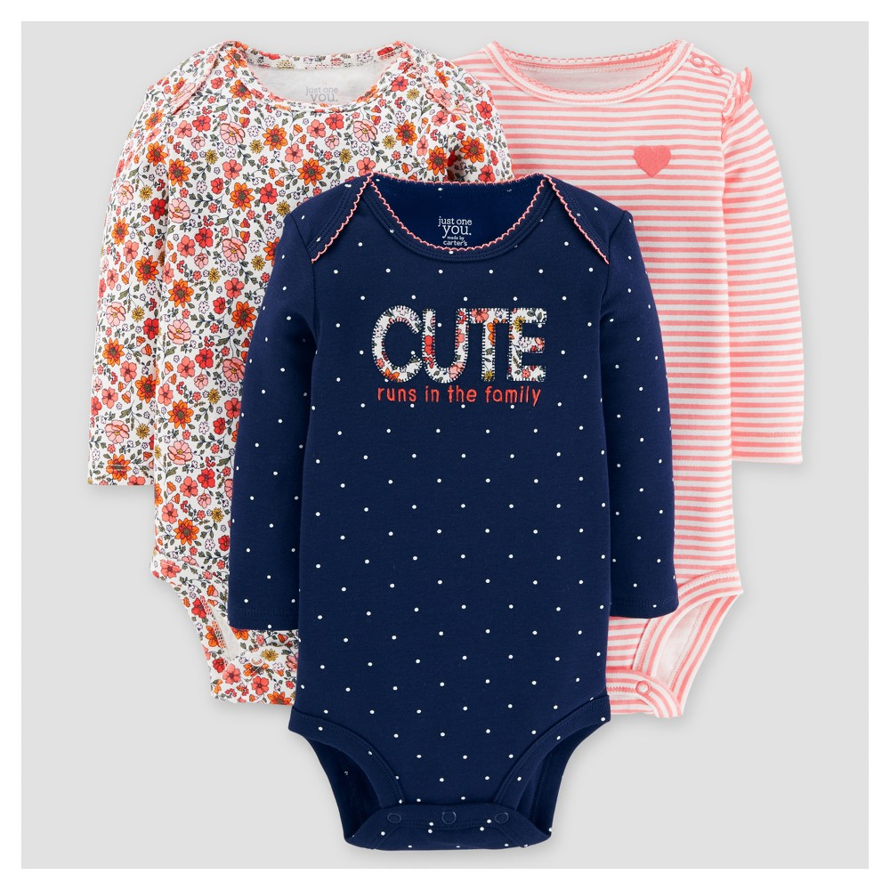 Baby Girls 3pk Long Sleeve Floral Bodysuit - Just One You Made by Carters Navy 12M, Size: 12 M, Blue