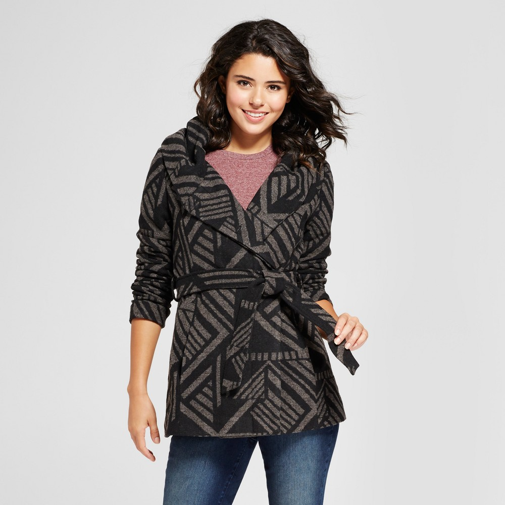 Womens Printed Faux Wool Wrap - Xhilaration (Juniors) Charcoal Heather L, Gray