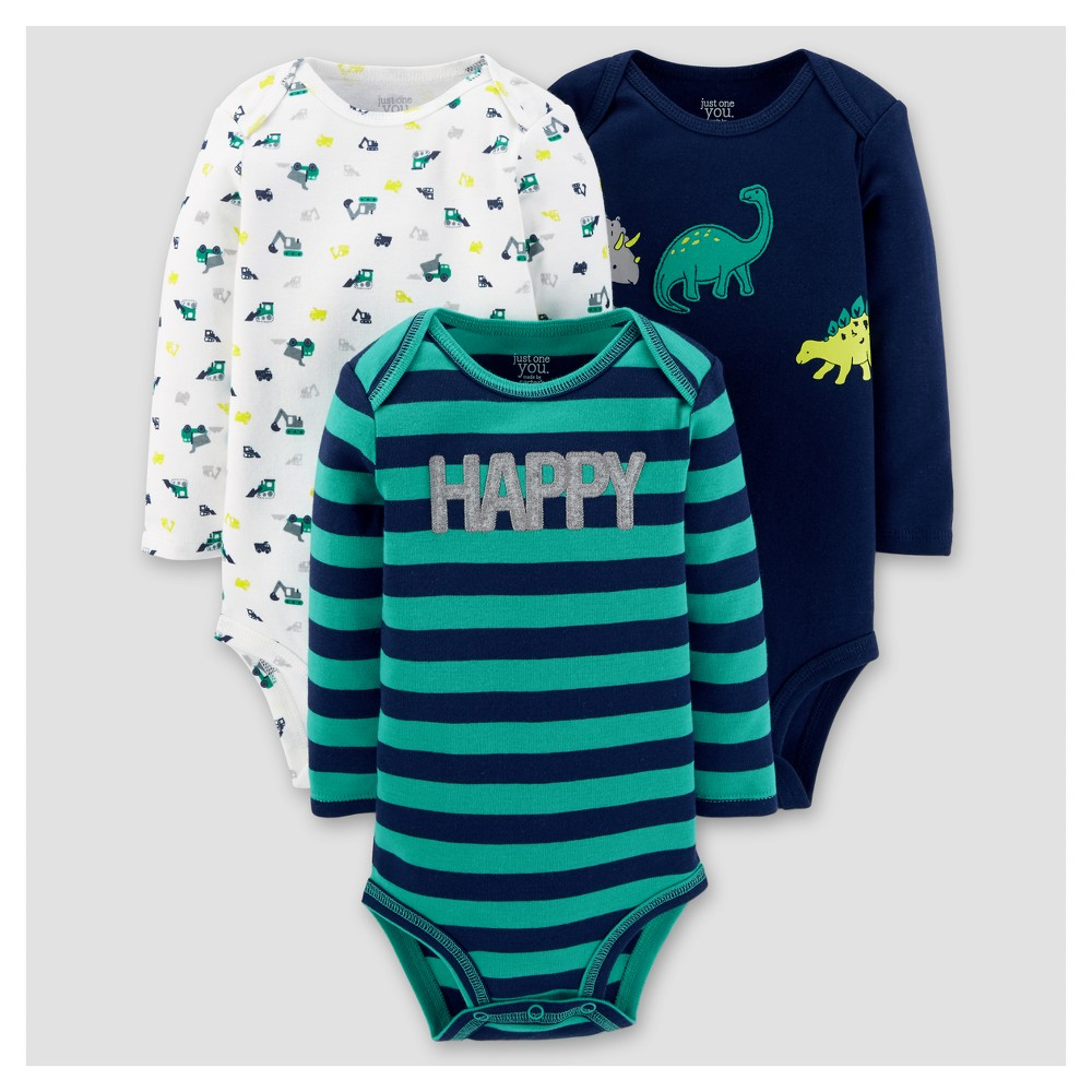 Baby Boys 3pk Long Sleeve Dinosaurs Bodysuit - Just One You Made by Carters Blue 3M, Size: 3 M