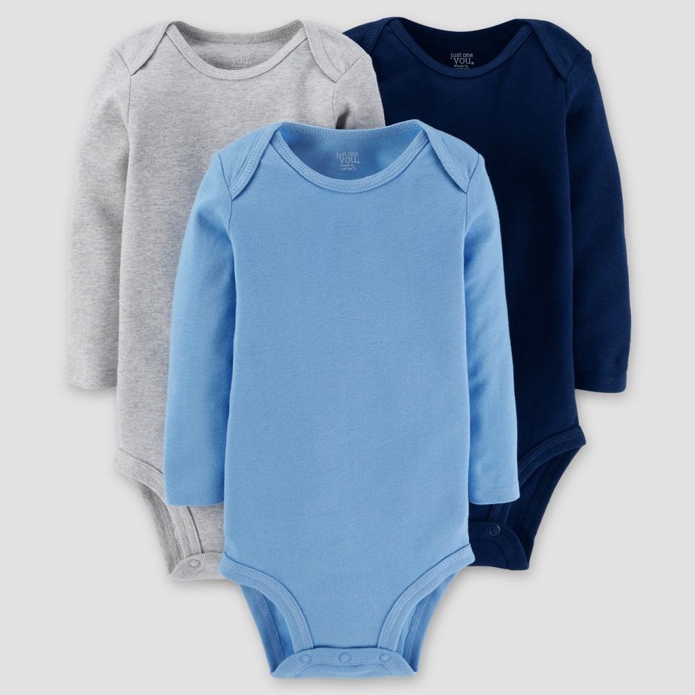 Baby Boys 3pk Long Sleeve Solid Bodysuit - Just One You Made by Carters Gray/Blue 24M, Size: 24 M