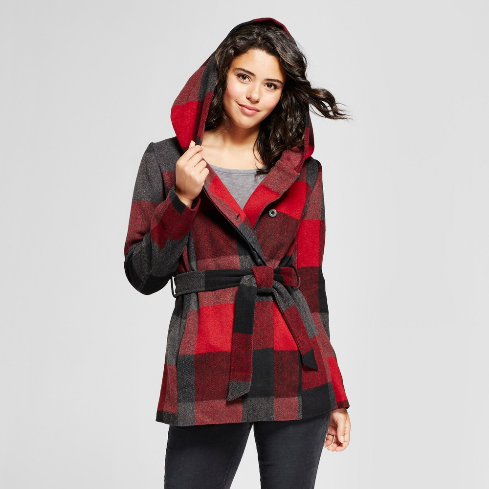 Womens Plaid Faux Wool Wrap - Xhilaration (Juniors) Red L