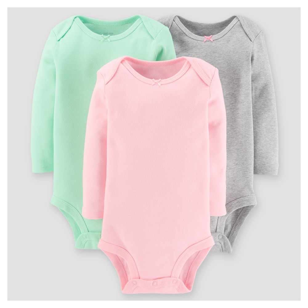 Baby Girls 3pk Long Sleeve Sold Bodysuit - Just One You Made by Carters Pink/Green 6M, Size: 6 M