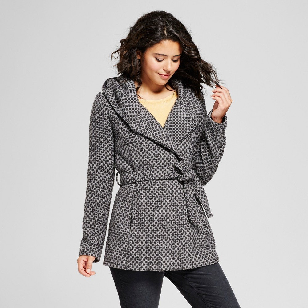 Womens Tweed Faux Wool Wrap - Xhilaration (Juniors) Gray XS