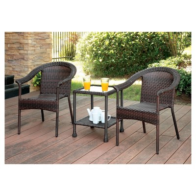 Erwin 3pc All Weather Wicker Patio Chat Set   Brown   Furniture Of America