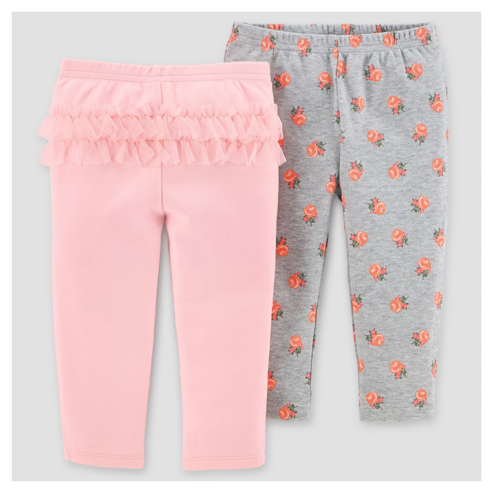 Baby Girls 2pk Pants - Just One You Made by Carters Gray/Pink Floral 9M, Size: 9 M