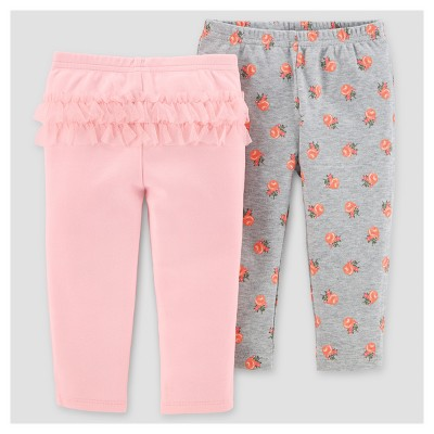 Baby Girls' 2pk Pants - Just One You™ Made by Carter's® Gray/Pink Floral 12M