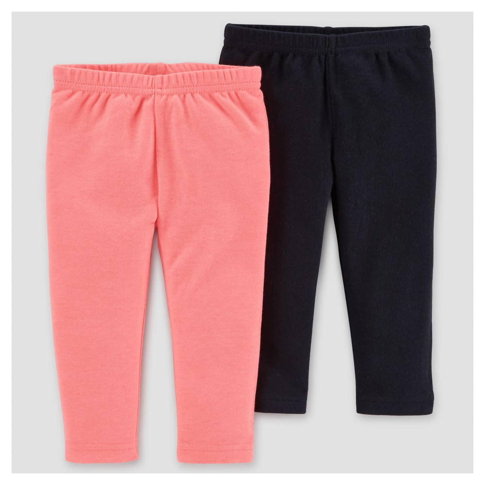 Baby Girls 2pk Pants - Just One You Made by Carters Pink/Black 3M, Size: 3 M