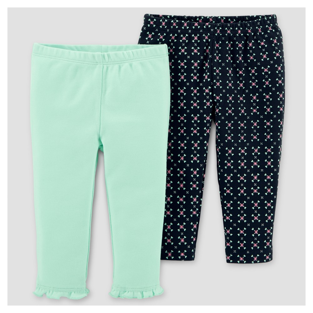 Baby Girls 2pk Pants - Just One You Made by Carters Black/Mint 9M, Size: 9 M