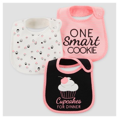 Baby Girls' 3pk Cupcakes Bib - Just One You™ Made by Carter's® Pink