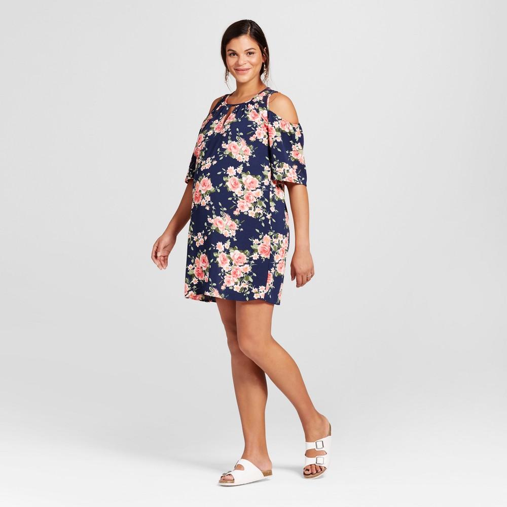 Maternity Cold Shoulder Dress Navy (Blue) XL - Maternal America, Womens