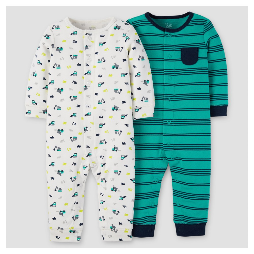 Baby Boys 2pk Jumpsuit - Just One You Made by Carters Blue Stripes 3M, Size: 3 M