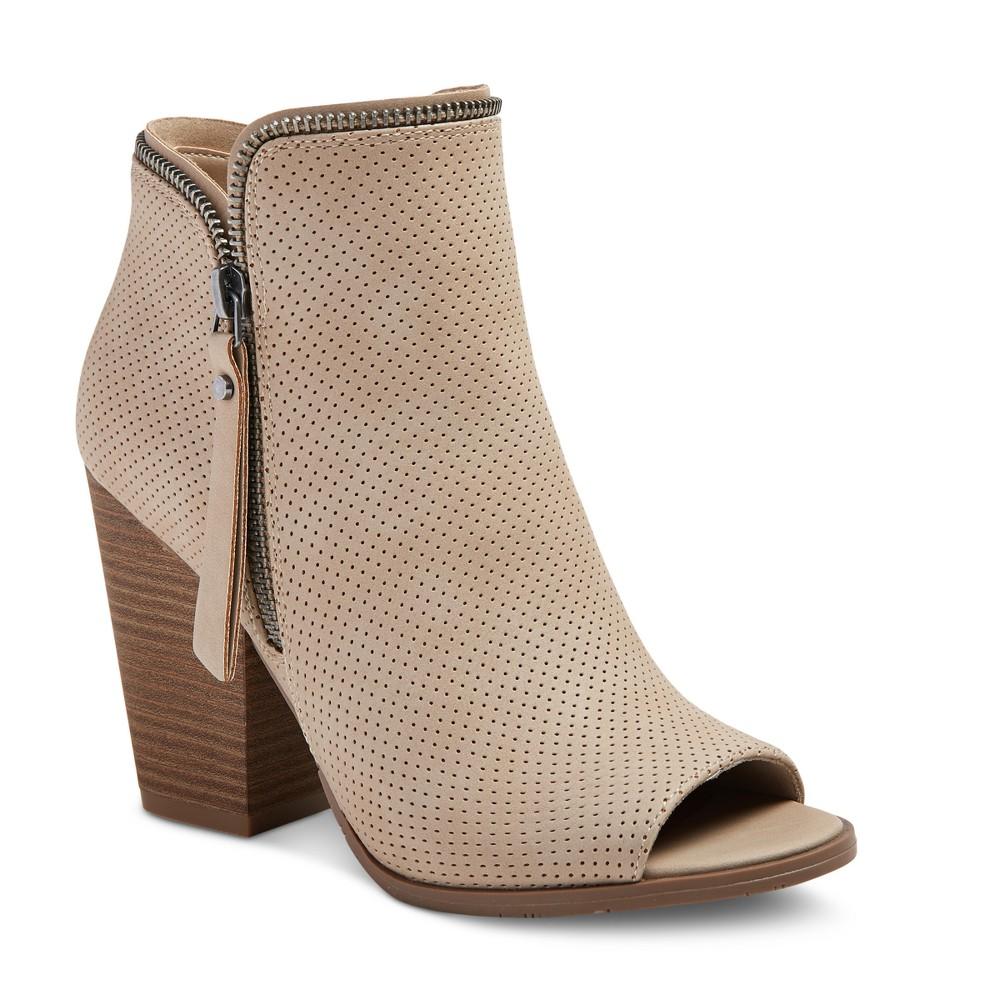 Womens dv Melissa Zip Up Peep Toe Booties - Taupe 11, Gray