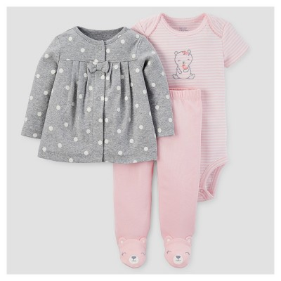 Baby Girls' 3pc Cardigan Set - Just One You™ Made by Carter's® Gray/Pink Bear NB