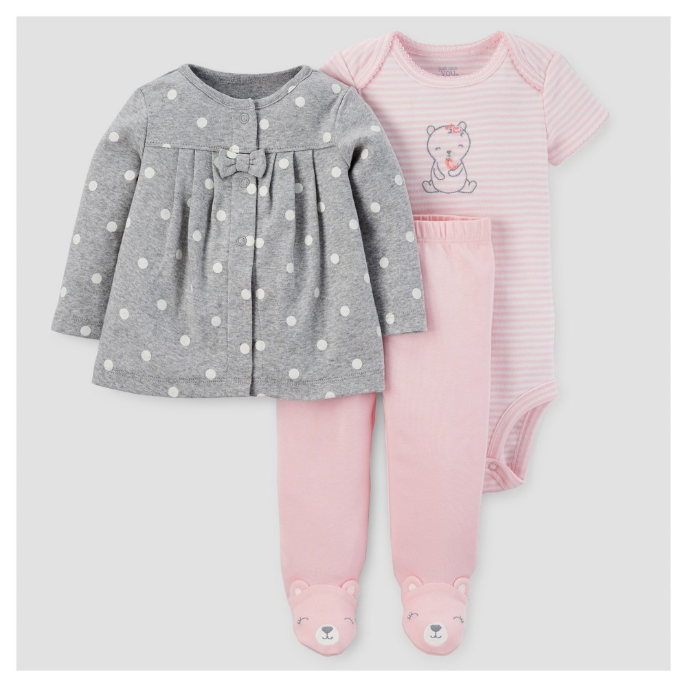 Baby Girls 3pc Cardigan Set - Just One You Made by Carters Gray/Pink Bear NB