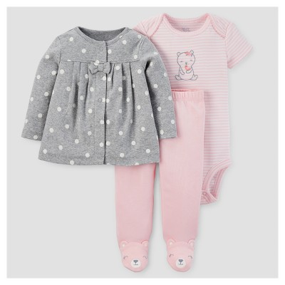 Baby Girls' 3pc Cardigan Set - Just One You™ Made by Carter's® Gray/Pink Bear 3M