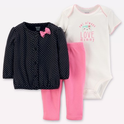 Baby Girls' 3pc Cardigan Set - Just One You™ Made by Carter's® Black/Pink Owl 9M