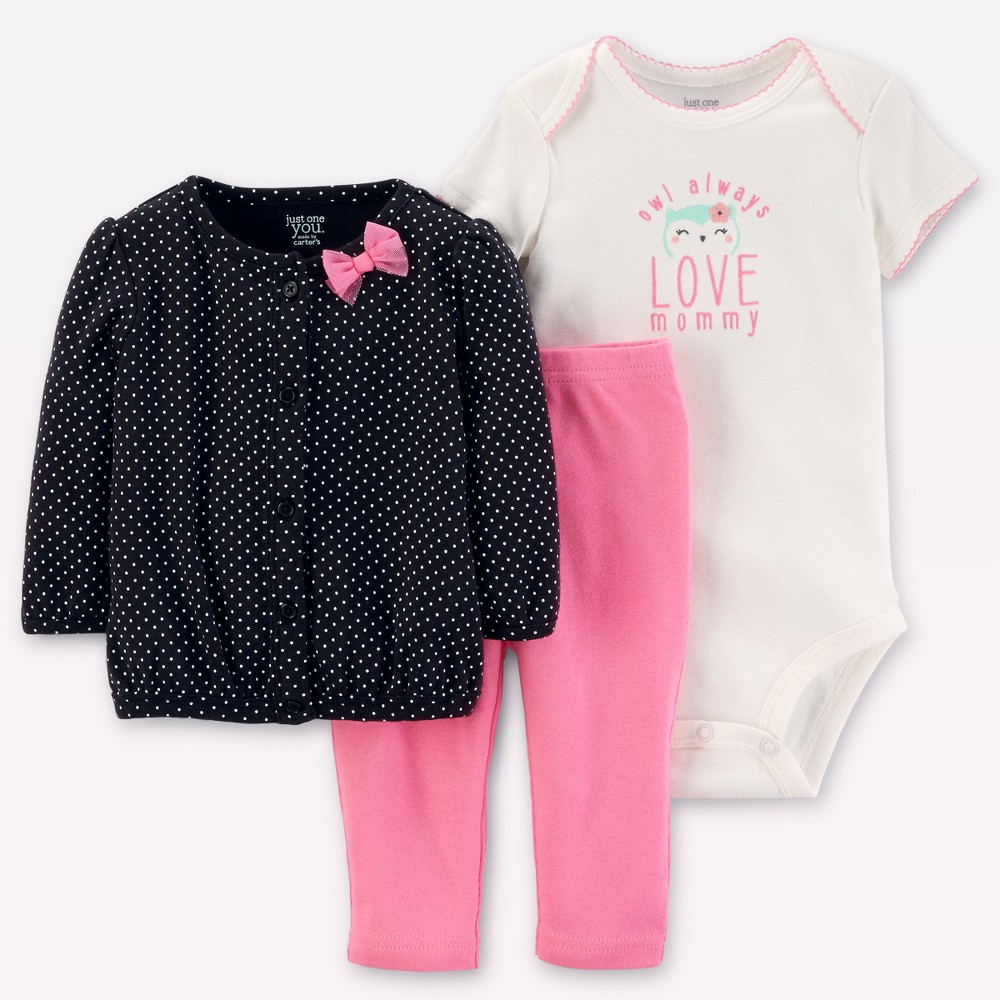 Baby Girls 3pc Cardigan Set - Just One You Made by Carters Black/Pink Owl 9M, Size: 9 M