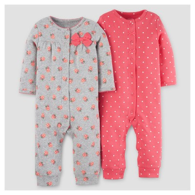 Baby Girls' 2pk Jumpsuit - Just One You™ Made by Carter's® Pink/Gray Floral 6M