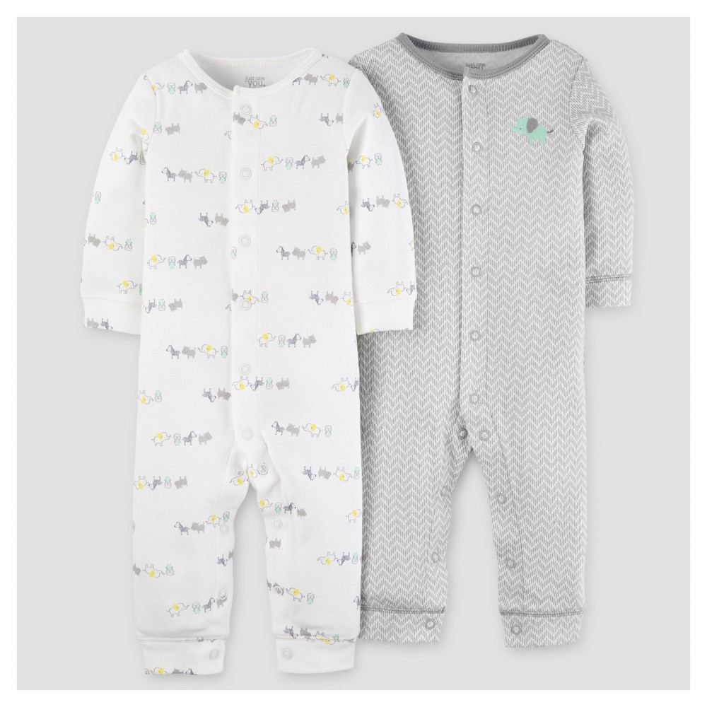 Baby 2pk Jumpsuit - Just One You Made by Carters Green Elephant 3M, Infant Unisex, Size: 3 M, Gray