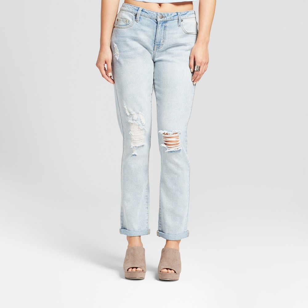 Womens Destroyed Boyfriend Jeans - Mossimo Light Wash 4, Blue