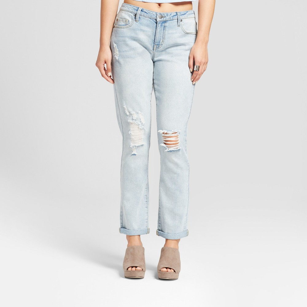 Womens Destroyed Boyfriend Jeans - Mossimo Light Wash 0 Long, Blue