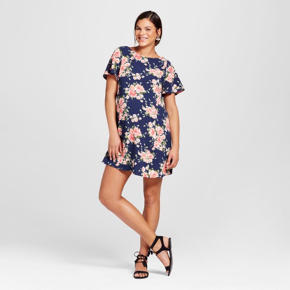 Maternity Deep V-Back Dress Navy (Blue) M - Maternal America, Infant Girls