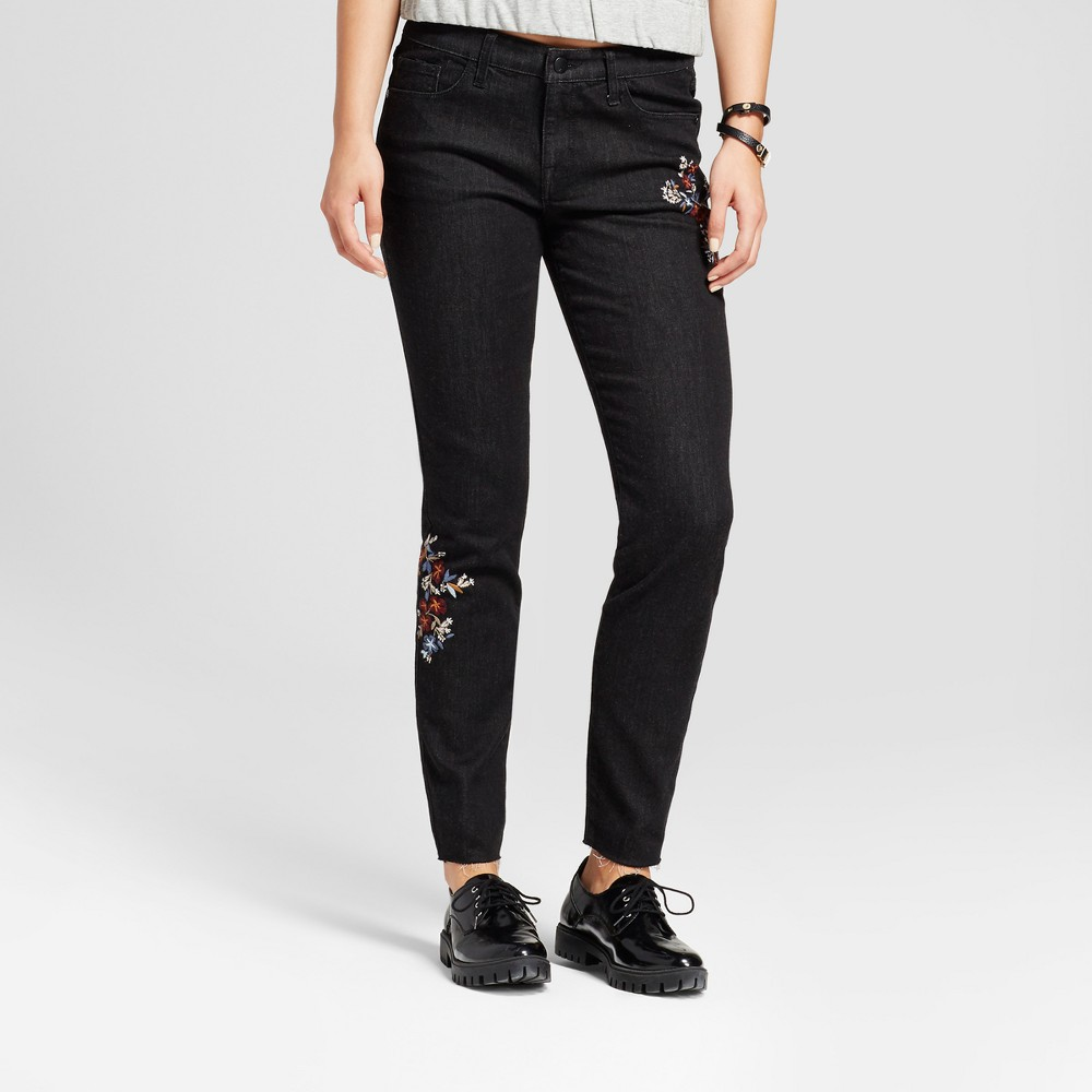 Womens Mid Rise Floral Embroidered Skinny Jeans - Mossimo Black 2 Long