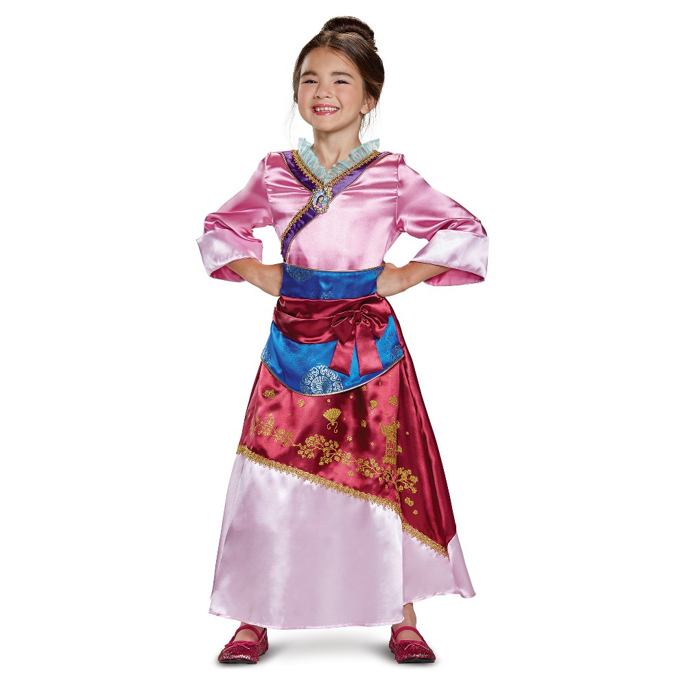 Girls Disney Princess Mulan Deluxe Costume M (7-8), Multicolored