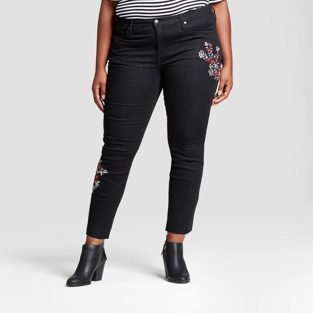 Womens Plus Size Embroidered Skinny Jeans - Ava & Viv Black 26W