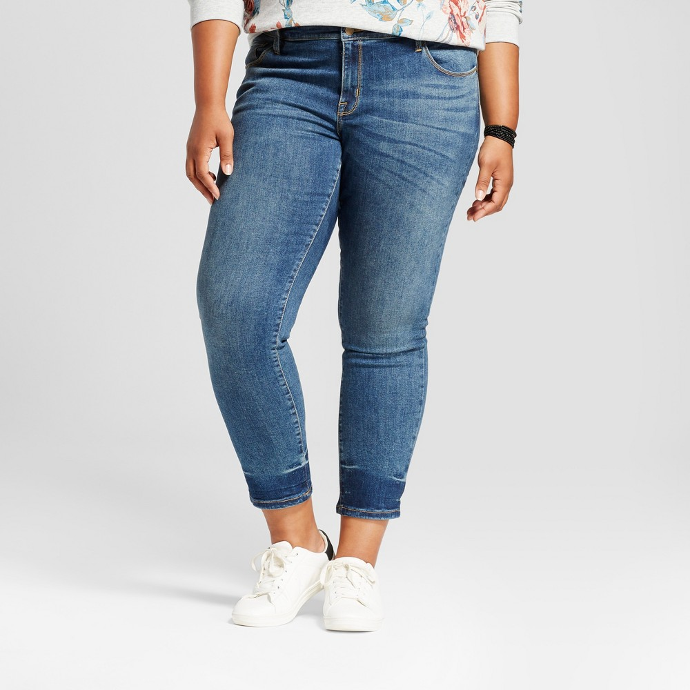 Womens Plus Size Skinny Jean - Ava & Viv Medium Wash 16W, Blue