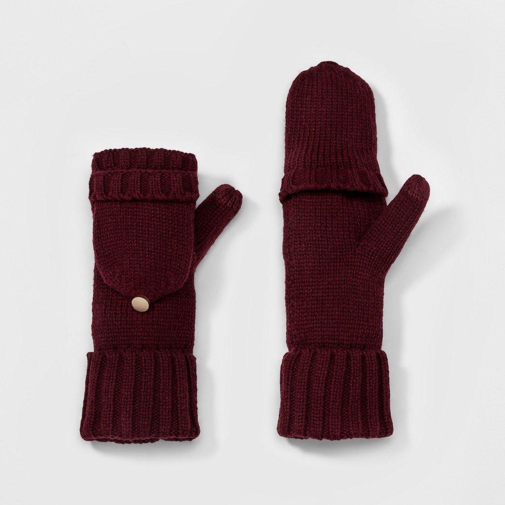 Womens Flip Top Glove - A New Day Maroon (Red)