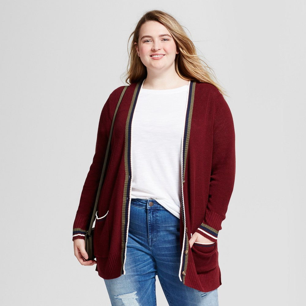 Womens Plus Size Boyfriend Cardigan - Mossimo Supply Co. Burgundy (Red) 4X