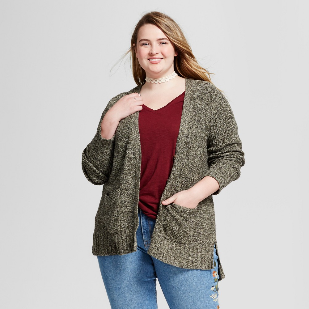 Womens Plus Size Boyfriend Cardigan - Mossimo Supply Co. Green 3X