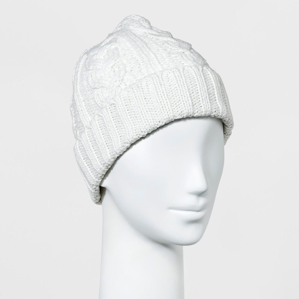 Womens Cable Cuff Knit Beanie - A New Day Cream (Ivory)