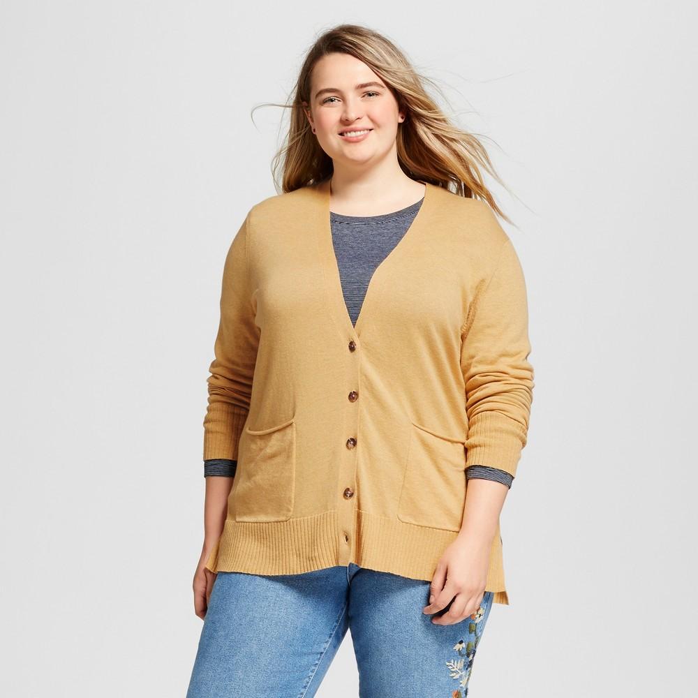 Womens Plus Size Boyfriend Cardigan - Mossimo Supply Co. Yellow 1X