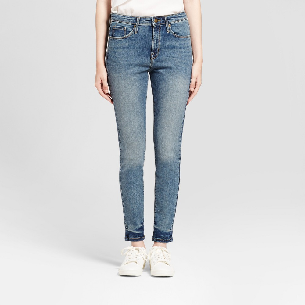 Womens Jeans High Rise Skinny - Mossimo Light Wash 10 Long, Blue