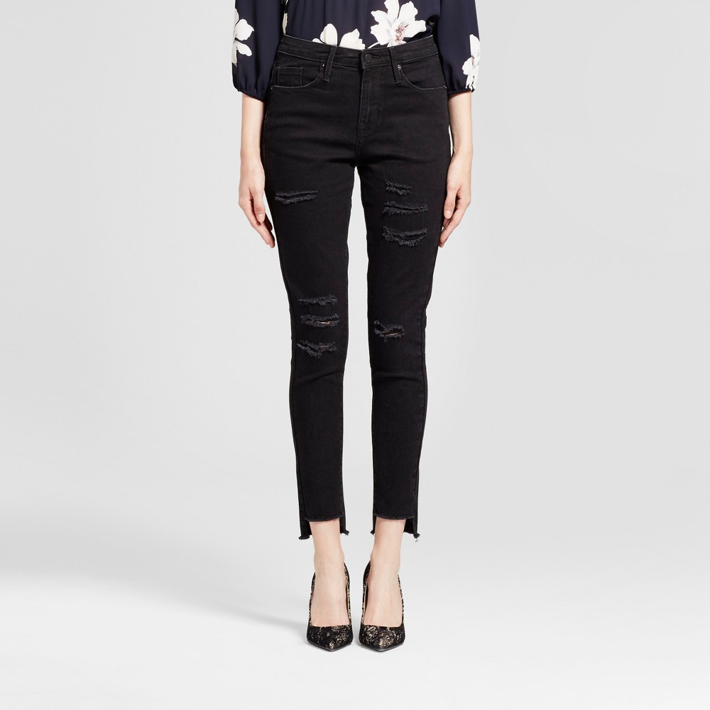 Womens Jeans High Rise Skinny Destroyed - Mossimo Black 0L, Size: 0 Long