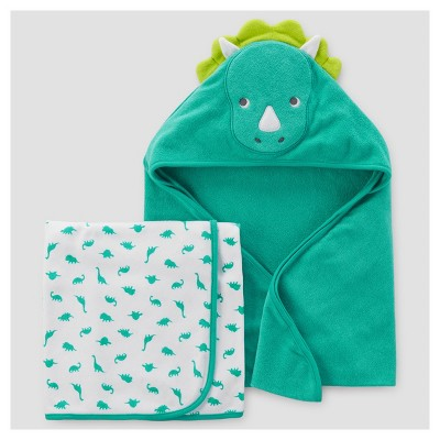 Baby Boys' 2pk Dino Towel - Just One You™ Made by Carter's® Teal