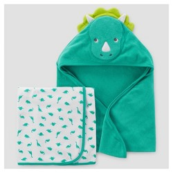 Baby Boys' 2pk Monster/Tiger Towel - Just One You™ Made by Carter's® Teal