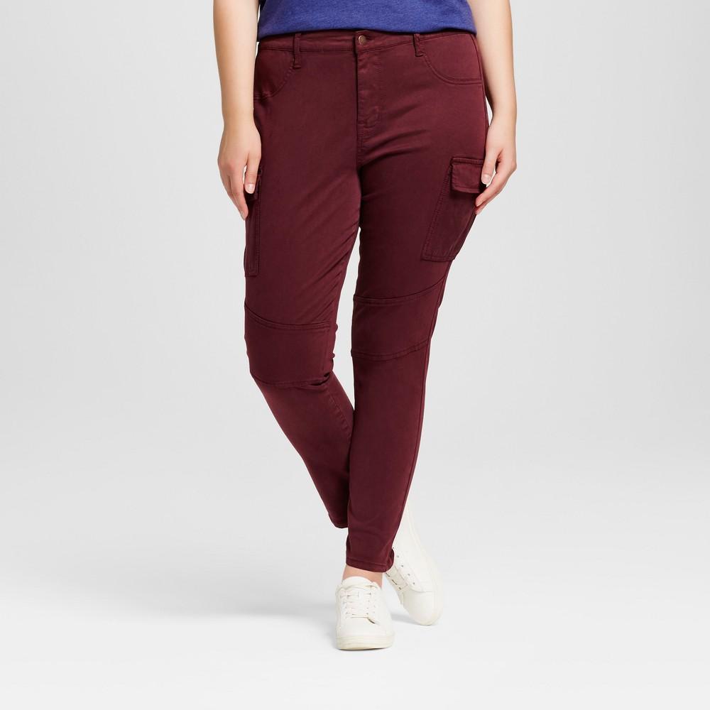 Womens Plus Size Moto Jeggings - Ava & Viv Sangria 20W, Sangria Red
